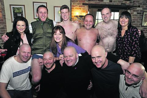 Jeremy Russon, centre front, with wife Debbie, centre, and, back from left, Emma Teague, Andy De'Ath, Tom Richardson, Mike Young, Pete Tasker and Lisa Tucker; front, Jimmy Brock, Matt Dagger, Chris McKell and Gareth Taylor
