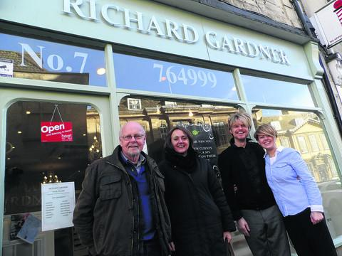 Wiltshire Times: Keith Turner, chairman of Trowbridge Archaeological Society, Rachael Charlton of Preserve our Past and Richard Gardner and Kerry Sawyer from the hair salon