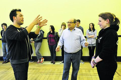 Actor Mark Beltzman (above, centre) leading a workshop at Trowbridge Town Hall