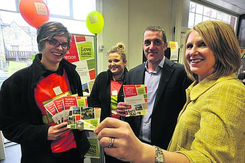 Mark Richardson, of Budgens in Bradford on Avon, ready to start Love Local, and staff Annie Holland and Sophie Dobson, left, with Jennifer Green, right, the fundraising manager for Dorothy House