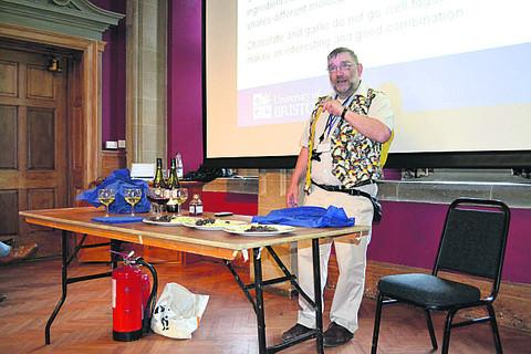 Professor Peter Barham during his presentation at Warminster School