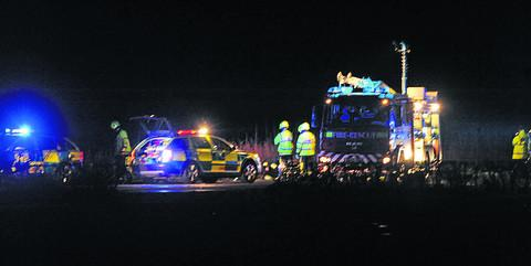 Emergency services at the scene last night
