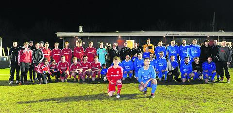 Swindon Town Youth line up against a select team of Corsham area players, with captains Alex Ferguson and Scott Lye up front