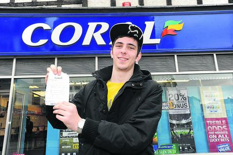 Simon Pike with the betting slip which was just one win away from a £1 million prize