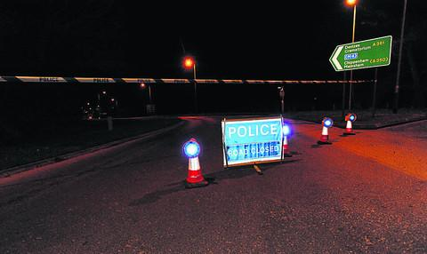 Wiltshire Times: The road closed off at the Semington roundabout