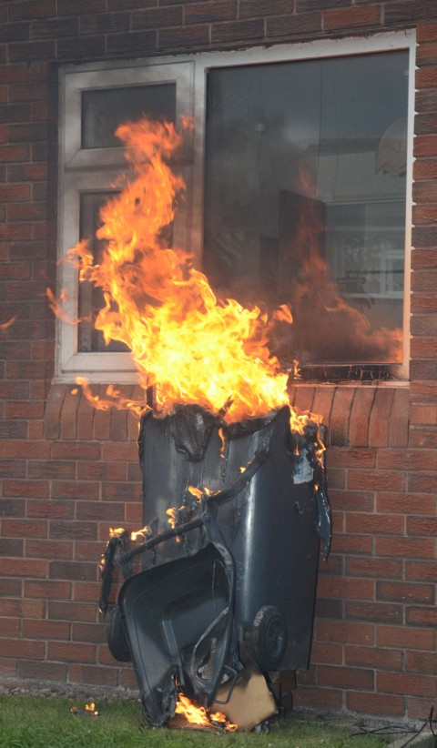 Bins set ablaze in We