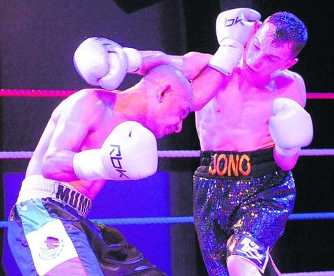 Staverton's Jono Price (right) on his way to a points victory over Sheffield's Anwar Alfadli at Trowbridge Civic Centre on Saturday