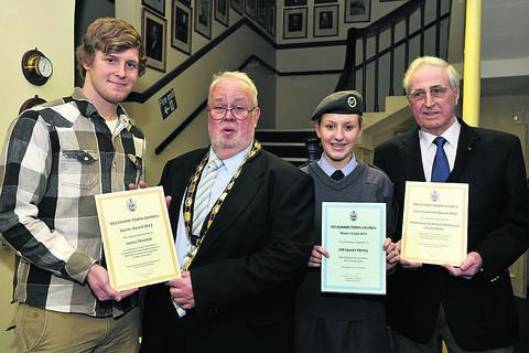 Mayor Chris Petty with winners James Threlfall, left, mayor's cadet Lauren Fairley and John Holness