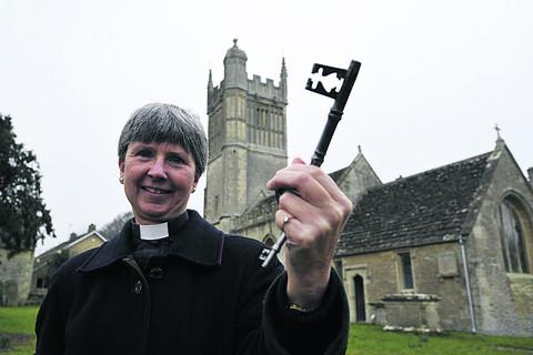 Rev Joanna Abecassis with a key to St Mary, Westwood