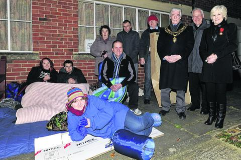 Mayor John Knight and wife Jill support the sleep-out