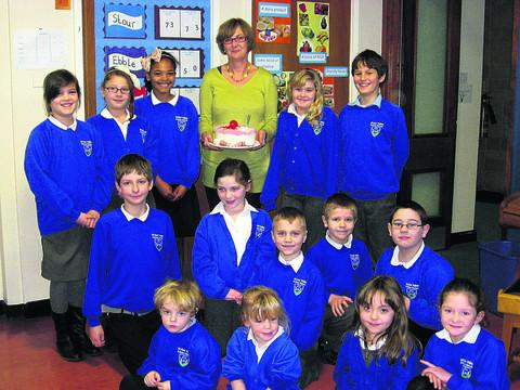 Sue Bray and pupils after the leaving assembly