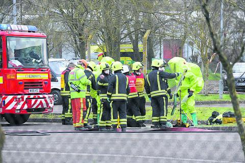 Firefighters at the scene of the incident