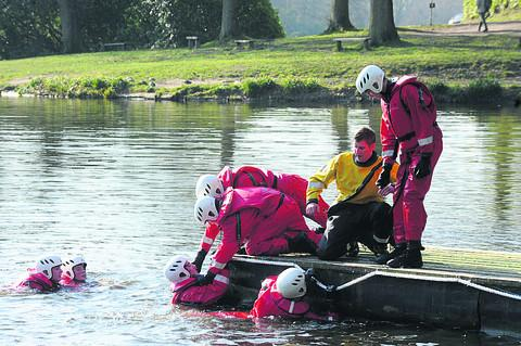 Wiltshire Times: Teenagers from Trowbridge and Warminster during a simulated water rescue as part of the fire department's Salamander course