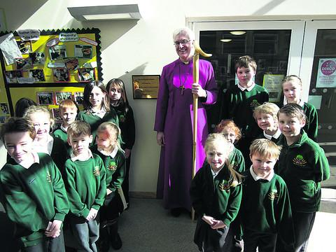 The Bishop of Ramsbury with pupils at Shaw Primary School