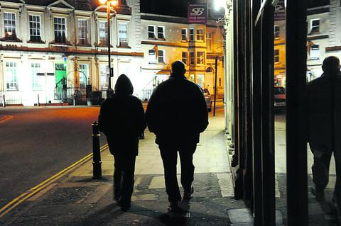 Plain-clothed officers on the streets of Trowbridge last night as part of Operation Chariot