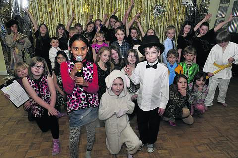 Westwood with Iford Primary School pupils rehearsing for their Westwood's Got Talent showcase, in aid of the school, which was performed for fellow pupils, parents and teachers, but without a panel of emotional celebrity judges