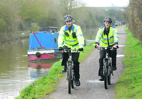 PCSOs Phil Greenaway and James Bates policing the canal