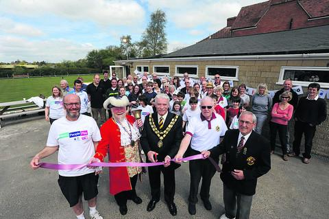 Wiltshire Times: Adam Jacob, of the tennis section, town crier Trevor Heeks, mayor John Knight, club chairman Roger Hawkin and bowls chairman David Anderson at the party