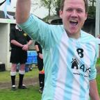 Biddestone Social captain Danny Jones lifts the Subsidiary Cup to complete his side's historic quadruple on Sunday