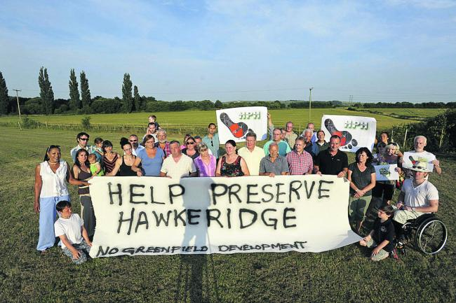 Residents from Hawkeridge near Westbury have formed the Hawkeridge Action Group to stop development of a 35-acre business park on green fields surrounding the village                  			   (40344)