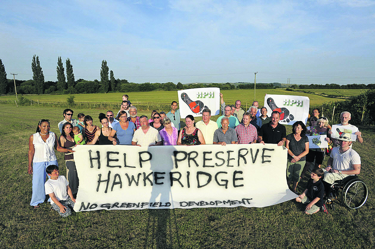 Protesters against the proposed 35-acre business park at Hawkeridge. The plan has now been approved