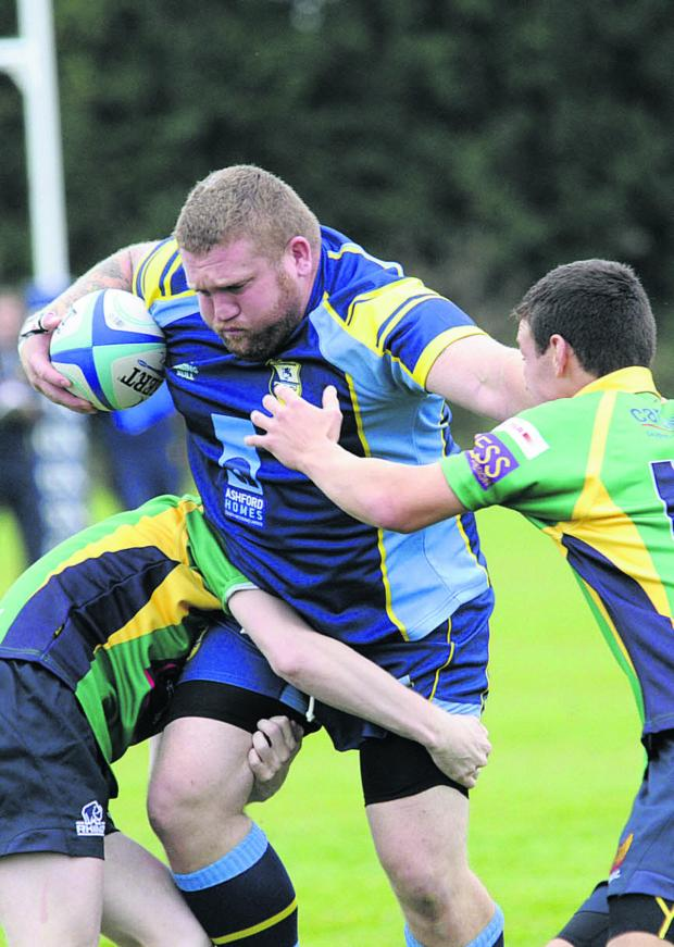 Wiltshire Times: Trowbridge prop Sean Jones powers through the North Dorset defence during his side's 26-7 victory last Saturday – the senior team's first match at their new multi-million pound Doric Park venue in Hilperton