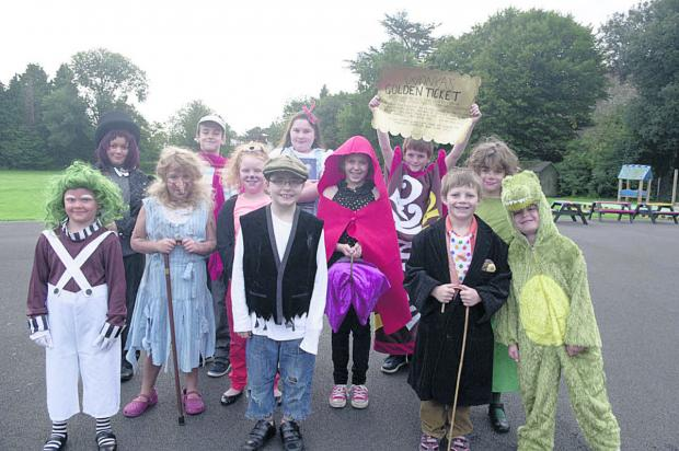 Pupils at St John's CE Primary School in Warminster during the dress up for Roald Dahl's Marvellous Children's Charity