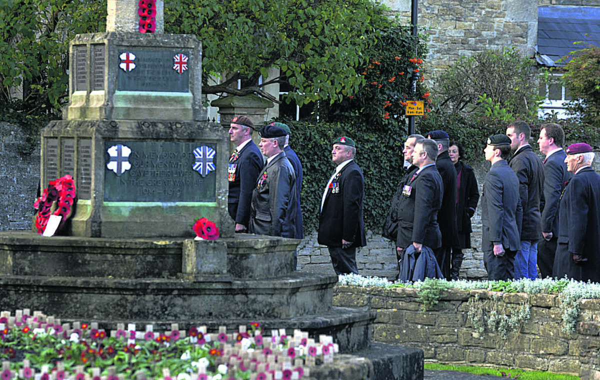 The war memorial ceremony in Melksham yesterday