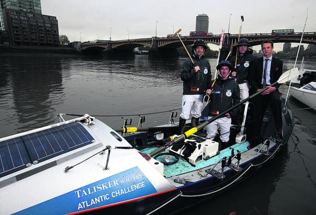 James Glasson, second right, with, from left Bobby Melville, of Luckington, Henry Brett and Fergus Scholes, before setting off on the Talisker Whisky Atlantic Challenge