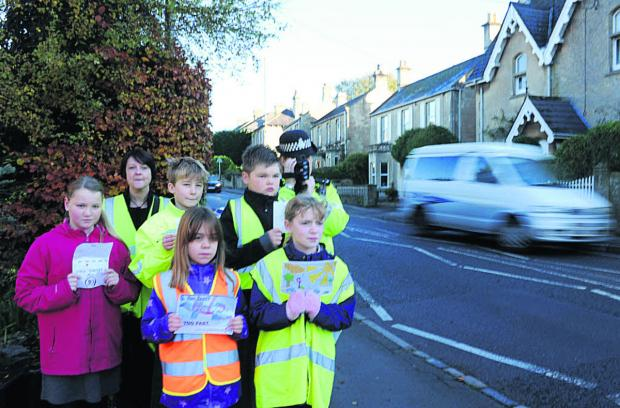 Box Primary School pupils join Community Speed Watch's Amanda Lewington and PC Mandy Bull last year to target speeding drivers