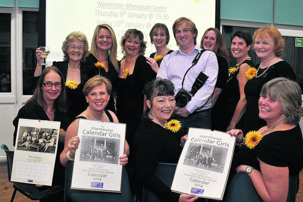 Warminster's Calendar Girls, pictured with photographer Matt Curtis are, back, from left: Freda Anderson, Rebecca Ward Murphy, Lisa Crow, Lisa Shuckford, Hazel Loveday, Patience Scott-Brown, Elaine Orchard; front; Corinne Hunter, Lucy Fryer, Lynn Clark