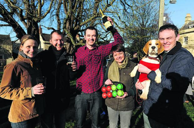 Sam Liverton of the Ham Tree with Holt Boules winners Amanda and Paul Girdler and, right, Kristy and Mark Field of the Beagles team  Photo: Trevor Porter (48127)