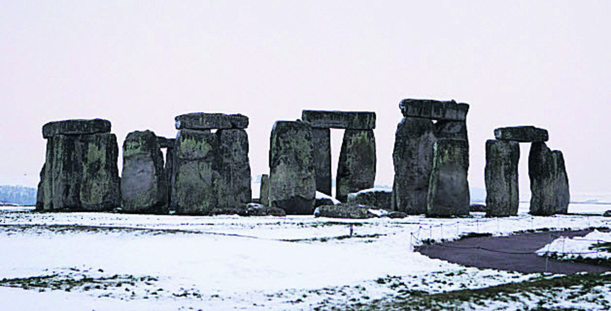 Stonehenge after snowfall a year ago