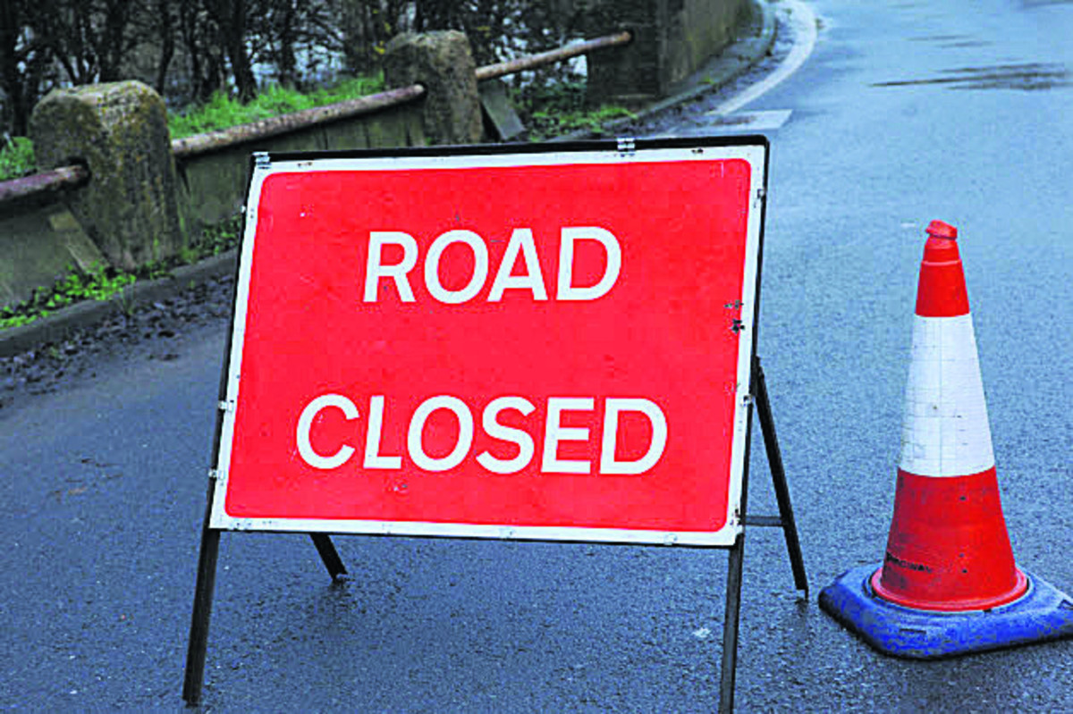 The B3105 remains closed at Staverton, near Tro