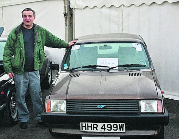 Guy Vincent with the Mini Metro he sold to Dr Alex Moulton, inset, in 1981, and bought back at an auction last month