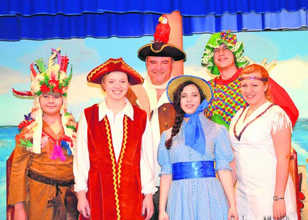 Max Lacock as the native chief, Laura Brackstone as Jim Hawkins, Mike Worsley as Long John Silver, Ellie Porter as Lorna Trelawney. Julian Porter as Joan Hawkins and Zoe Hyde as the chief's daughter.