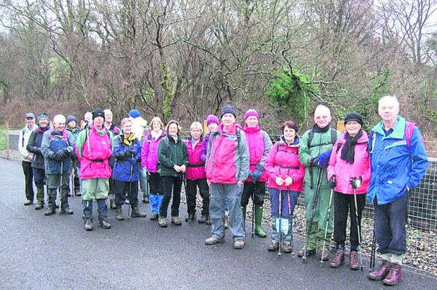 The Westbury Walkers pictured outside the Combe Down tunnel entrance on Sunday