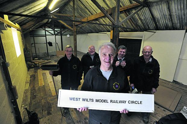 Ron Pybus, centre, Circle chairman and members, from left, Harry Harper, Ray Stowe, John Roxburgh and Barry Hollins in their new  premises at Holt Tannery
