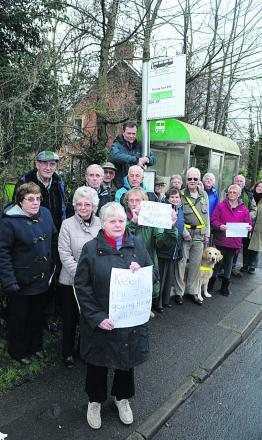 Pat Clarkson and fellow North Bradley villagers angry about the bus service cut