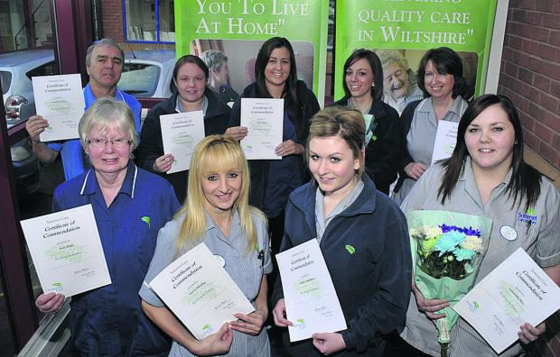 Wiltshire Times: Somerset Care support workers with their certificates, back row from left, Tony Denny, Jade Hornby, Lucy Tomes, Rheanna Hall and Angela Stacey; front, Ann King, Maria Hateley, Amber Matthews and Samantha Rose
