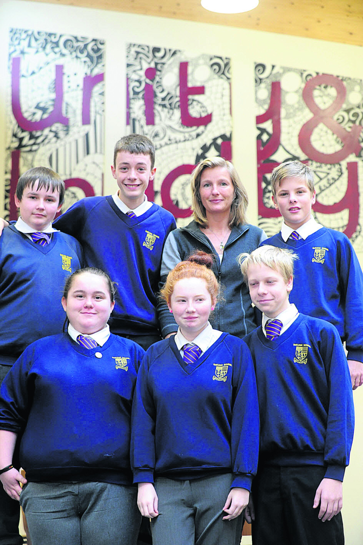 Artist Zoe Rucker with Sheldon School pupils Taylor, Lewis and Aaron; front, Jess, Kim and Liam