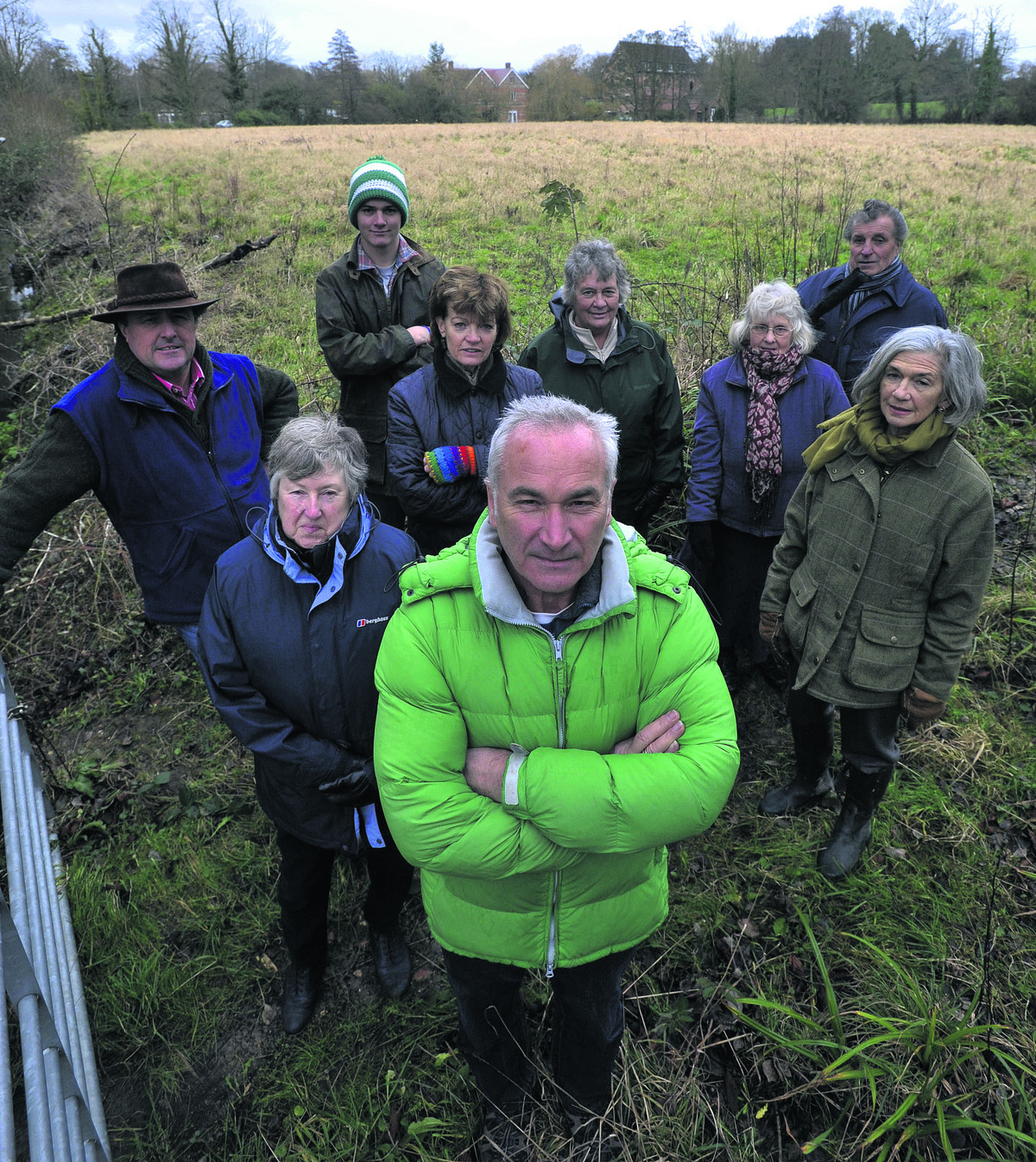 Mike Perry, front, with Bishopstrow villagers who are angry over support given for plans to build 35 homes on the Spurt Mead watermeadows off Boreham Road