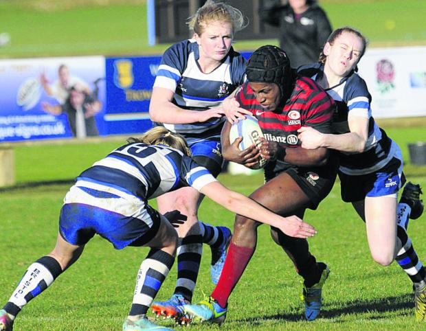England star Maggie Alphonsi in action at Trowbridge RFC on Sunday