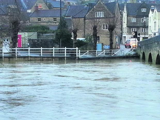 The view of the river at Bradford on Avon from the Bridge Street web cam this morning
