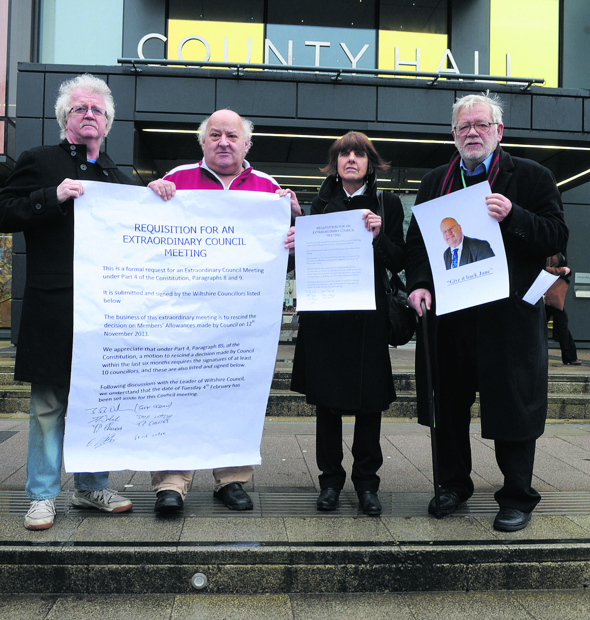 Independent councillors Ernie Clark, Terry Chivers, Helen and Jeff Osborn call for Wiltshire Council to rescind the expenses increase