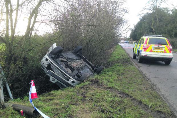 Wiltshire Times: A car was flipped onto its roof near Whitley this morning