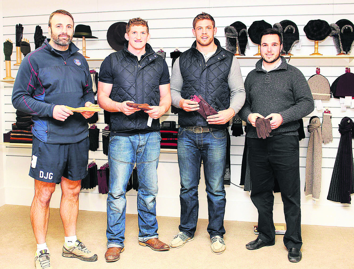 From left, Danny Grewcock, Stuart Hooper, Dave Attwood and Geoff Binding, were given a pair of leather gloves each on their recent visit to Dents glovemakers in Warminster