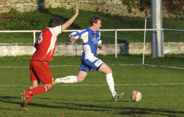 Wiltshire Times: Dan King scored for Bradford Town at Roman Glass St George