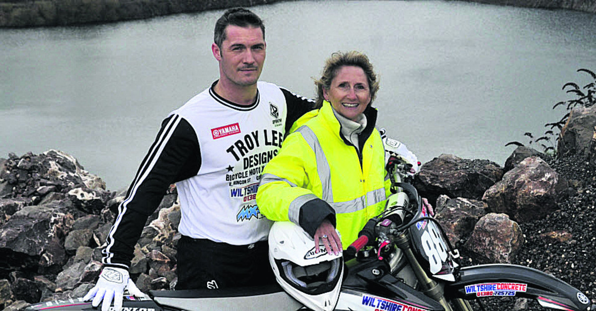Melksham motocross rider Leon Ireland, pictured with Tracey McQuaid, of Wiltshire Concrete, who are sponsoring him