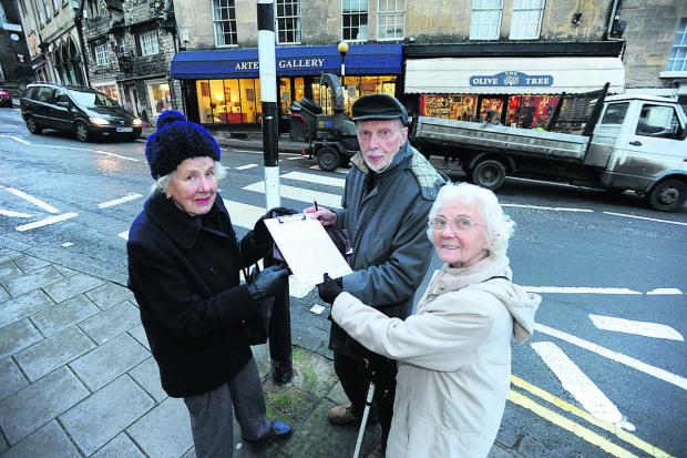 Concerned Bradford on Avon residents Belinda Shimwell, Godfrey Marks and par